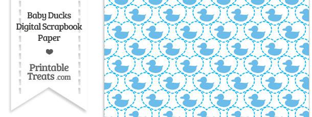 Blue Baby Ducks Digital Scrapbook Paper Printable Treats