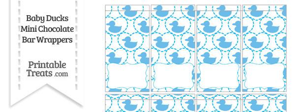 Blue Baby Ducks Mini Chocolate Bar Wrappers