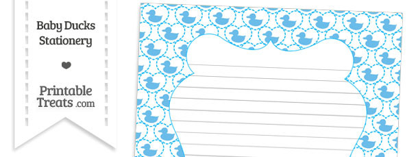 Blue Baby Ducks Stationery Paper