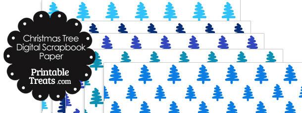 Blue Christmas Tree Digital Scrapbook Paper