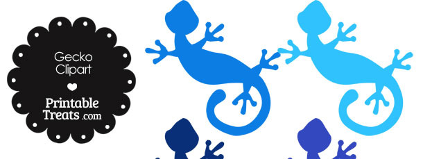 blue gecko clipart — printable treats