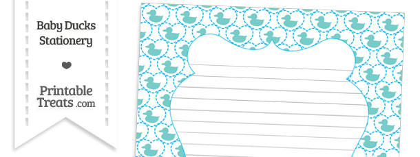 Blue Green Baby Ducks Stationery Paper