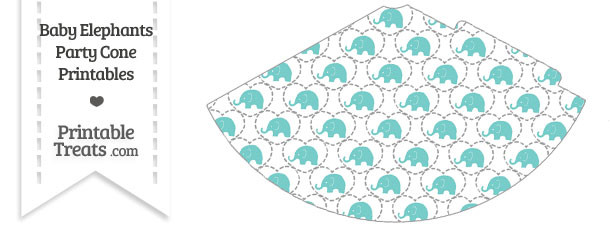 Blue Green Baby Elephants Party Cone