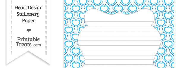 Blue Heart Design Stationery Paper