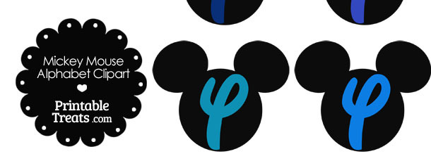 Blue Mickey Mouse Head Letter Y Clipart