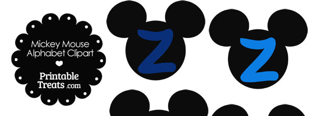 Blue Mickey Mouse Head Letter Z Clipart