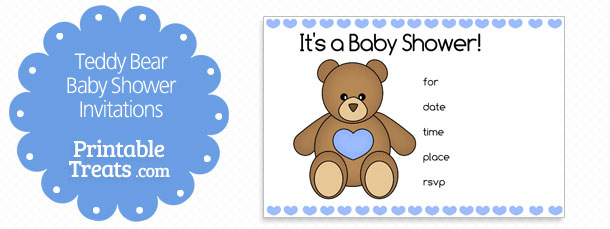 free blue printable teddy bear baby shower invitations