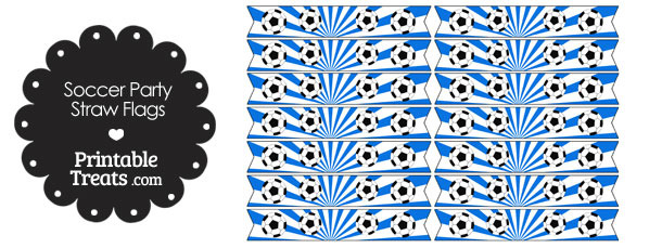 Blue Soccer Party Straw Flags