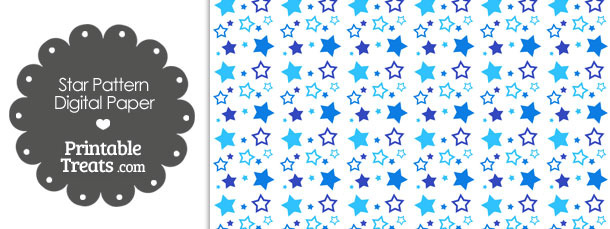 blue star pattern digital scrapbook paper  u2014 printable