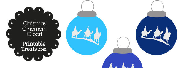 Blue Three Wise Men Christmas Ornament Clipart