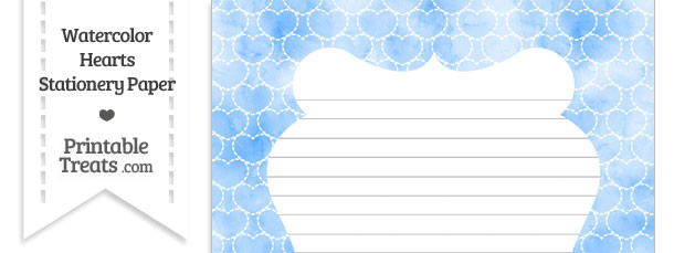 Blue Watercolor Hearts Stationery Paper