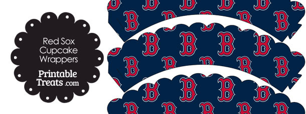 Boston Red Sox Baseball Scalloped Cupcake Wrappers