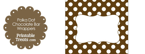 Brown and White Polka Dot Chocolate Bar Wrappers