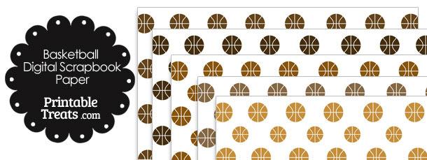 Brown Basketball Digital Scrapbook Paper Printable Treats