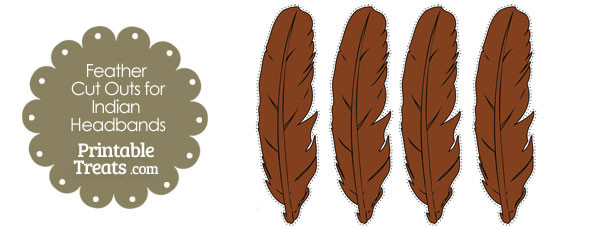 photo regarding Printable Feather Cut Outs named Brown Feather Reduce Outs for Indian Headbands Printable