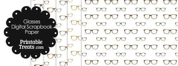 Brown Glasses Digital Scrapbook Paper