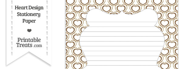 Brown Heart Design Stationery Paper