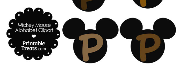 Brown Mickey Mouse Head Letter P Clipart