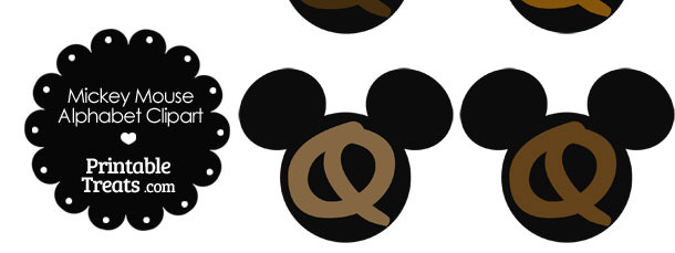 Brown Mickey Mouse Head Letter Q Clipart