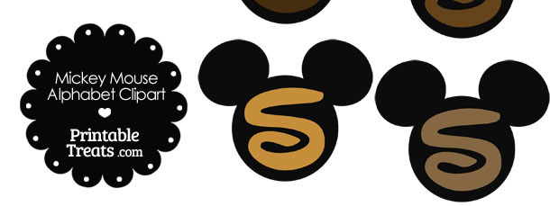 Brown Mickey Mouse Head Letter S Clipart