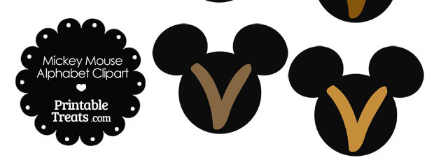 Brown Mickey Mouse Head Letter V Clipart