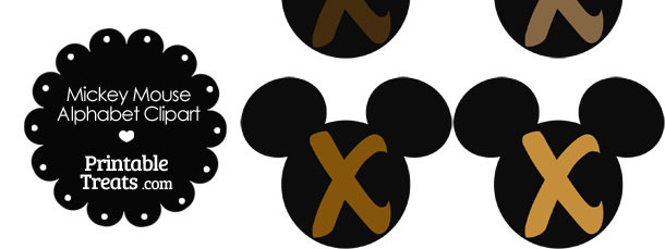 Brown Mickey Mouse Head Letter X Clipart
