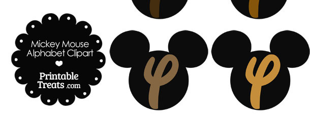Brown Mickey Mouse Head Letter Y Clipart