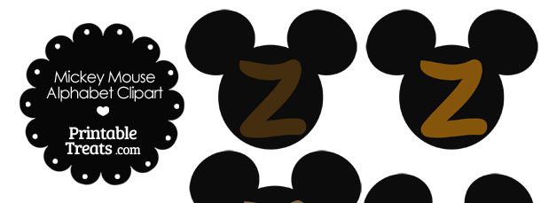 Brown Mickey Mouse Head Letter Z Clipart