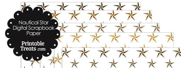 Brown Nautical Star Digital Scrapbook Paper