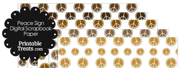 Brown Peace Sign Digital Scrapbook Paper