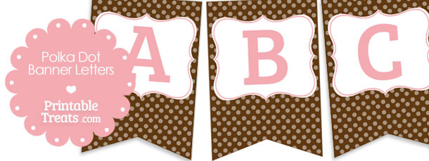 free brown polka dot banner letters