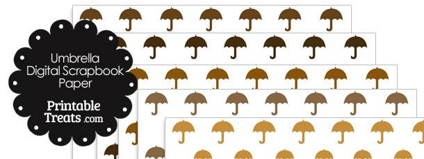 Brown Umbrella Digital Scrapbook Paper