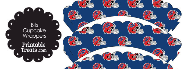Buffalo Bills Football Helmet Scalloped Cupcake Wrappers