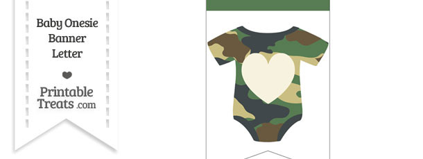 Camouflage Baby Onesie Bunting Banner Heart End Flag