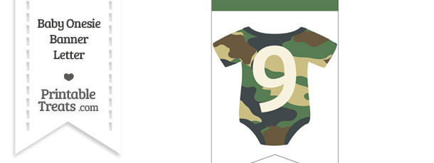 Camouflage Baby Onesie Bunting Banner Number 9