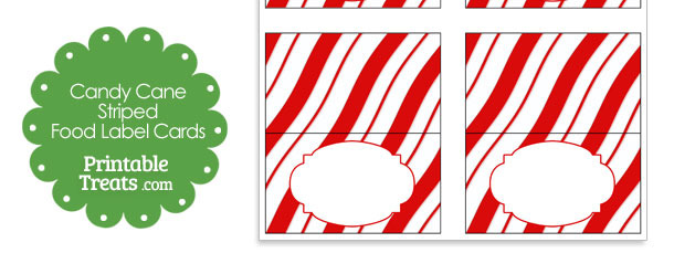 Candy Cane Stripes Food Label Cards