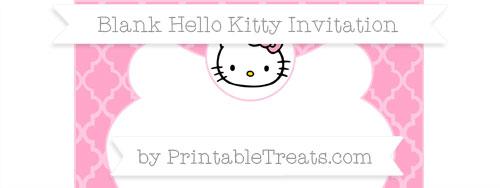 Free Carnation Pink Moroccan Tile Blank Hello Kitty Invitation