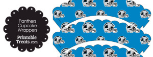 Carolina Panthers Football Helmet Scalloped Cupcake Wrappers