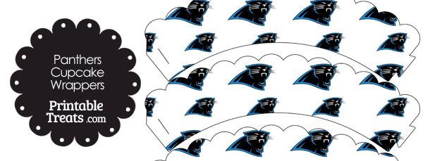 Carolina Panthers Logo Scalloped Cupcake Wrappers