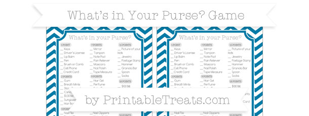 picture relating to Free Printable Baby Shower Games What's in Your Purse referred to as Cerulean Blue Chevron Whats inside of Your Purse Boy or girl Shower Sport