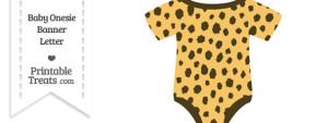 Cheetah Print Baby Onesie Shaped Banner Blank Spacer Flag