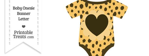 Cheetah Print Baby Onesie Shaped Banner Heart End Flag