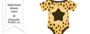Cheetah Print Baby Onesie Shaped Banner Star End Flag