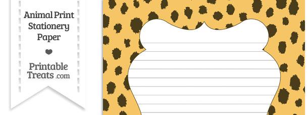 Cheetah Print Stationery Paper