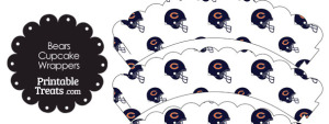 Chicago Bears Football Helmet Scalloped Cupcake Wrappers