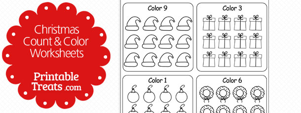 Christmas Counting Worksheets 1-10