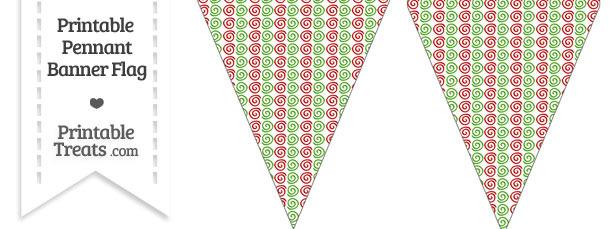 Christmas Swirls Pennant Banner Flag