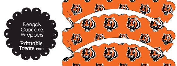 Cincinnati Bengals Logo Scalloped Cupcake Wrappers