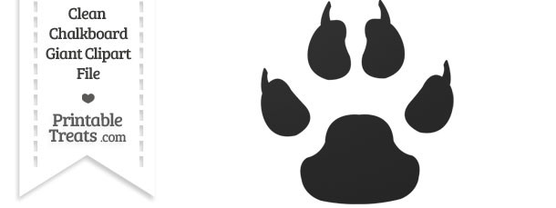 Clean Chalkboard Giant Dog Paw Print Clipart