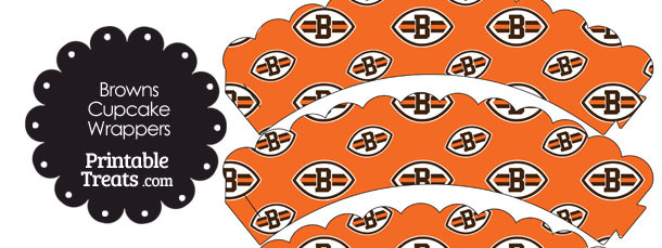 Cleveland Browns Logo Scalloped Cupcake Wrappers